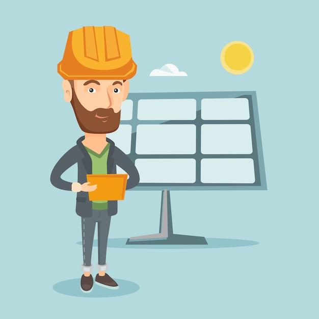 Trabalhador caucasiano da usina de energia solar. Vetor Premium