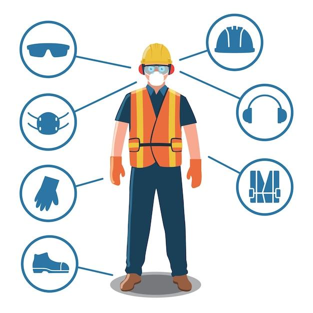 Trabalhador com equipamentos de proteção pessoal e ícones de segurança Vetor Premium
