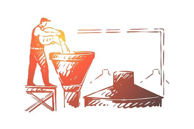 Trabalhador da cervejaria, funcionário da fábrica de álcool, cervejeiro servindo ingredientes na ilustração do tanque Vetor Premium