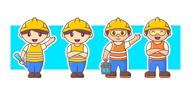 Trabalhador da construção civil com conjunto de ilustração de personagens de equipamentos. Vetor Premium