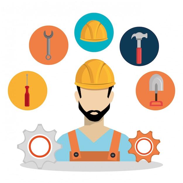 Trabalhador da construção civil com sob ícones de construção Vetor Premium