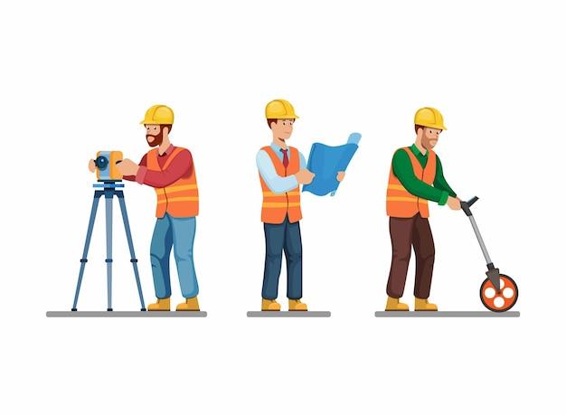 Trabalhador da construção civil definido arquiteto e engenheiro examinando e segurando a atividade de pose de planta Vetor Premium