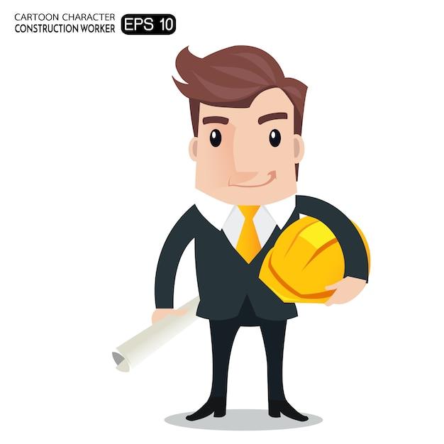 Trabalhador Da Construcao Civil Engenheiro Ou Arquiteto Segurando Desenhos Animados Blueprints Personagem De Desenho Animado Vetor Premium