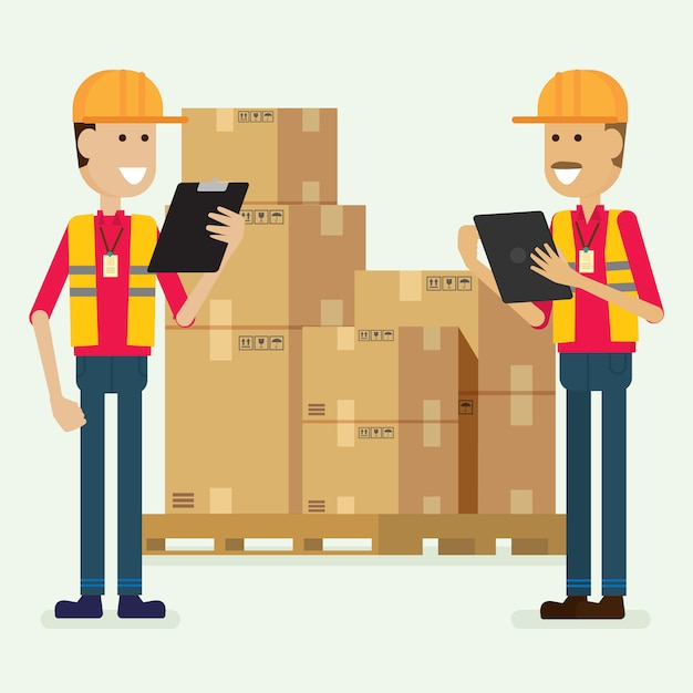 Trabalhador de armazém de caráter verificando mercadorias. ilustração vector Vetor Premium