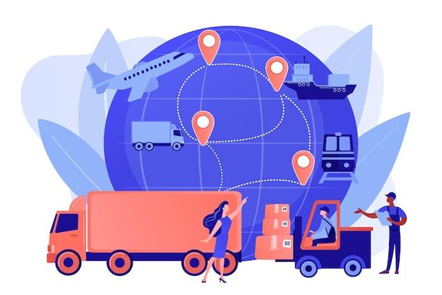 Trabalhador de armazém transportando mercadorias. tipos de frete. logística de negócios, tecnologias de logística inteligente, conceito de serviço de entrega comercial. ilustração de vetor isolado de coral rosa Vetor grátis