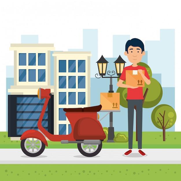 Trabalhador de entrega com moto Vetor Premium