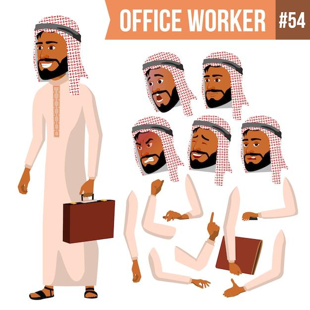 Trabalhador de escritório árabe Vetor Premium