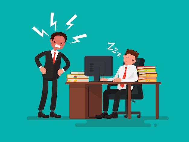 Trabalhador de escritório cansado dormindo em uma mesa ao lado dele é uma ilustração de chefe zangado Vetor Premium