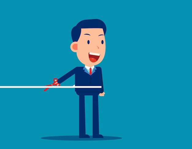 Trabalhador de escritório cortando a corda, aprenda a desconectar Vetor Premium