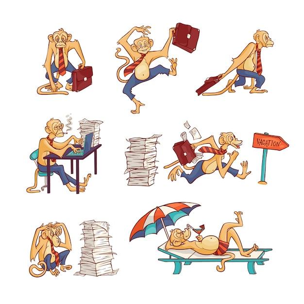 Trabalhador de escritório macaco conjunto com excesso de trabalho e relaxante na praia animal peludo em calças de negócios e gravata com maleta ou em trajes de banho Vetor Premium