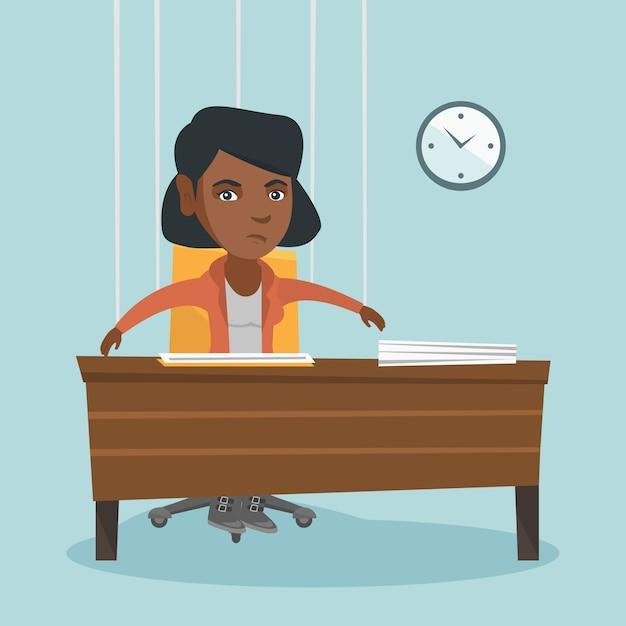 Trabalhador de escritório pendurado nas cordas como marionete. Vetor Premium