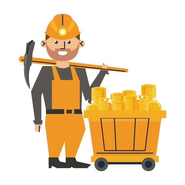 Trabalhador de mineração com picareta e vagão Vetor Premium