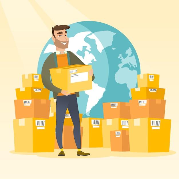Trabalhador de negócios de serviço de entrega internacional. Vetor Premium