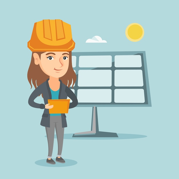 Trabalhador, de, planta poder solar, usando, um, tablete digital Vetor Premium