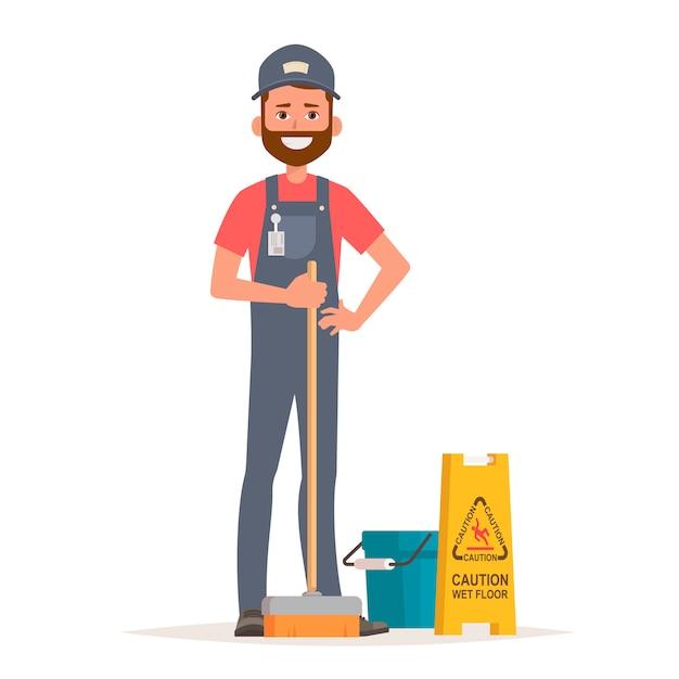 Trabalhador de serviço de limpeza com esfregão, balde e sinal de piso molhado de cuidado. Vetor Premium