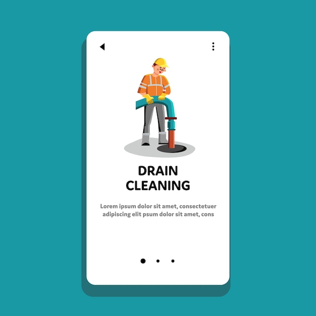 Trabalhador de serviço de limpeza e reparo de drenos Vetor Premium
