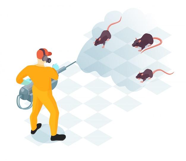 Trabalhador do serviço de controle de pragas com equipamento profissional durante a desinfecção doméstica de ilustração vetorial isométrica de roedores Vetor grátis