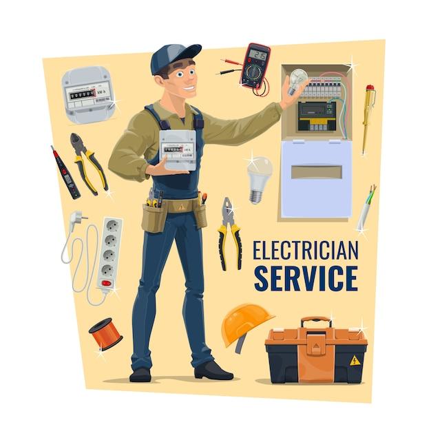 Trabalhador eletricista, ferramentas e suprimentos Vetor Premium
