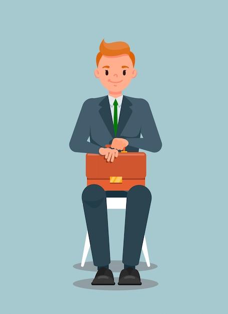 Trabalhador escritório, com, pasta, sentando, ilustração Vetor Premium