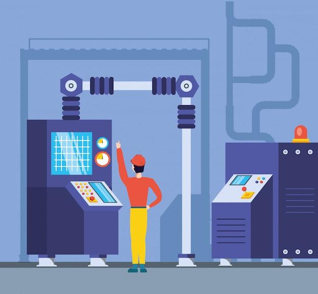 Trabalhador industrial em fábrica tecnificada Vetor Premium