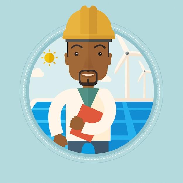 Trabalhador masculino da usina de energia solar e parque eólico Vetor Premium