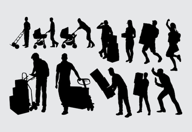 Trabalhador masculino e feminino silhueta Vetor Premium