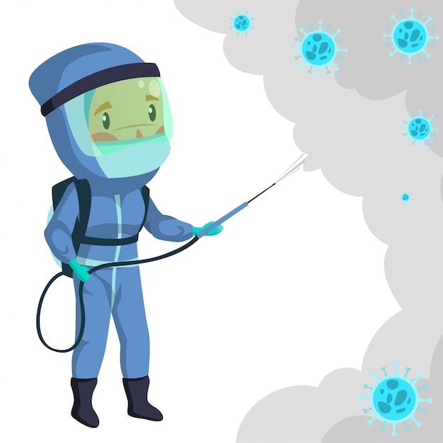 Trabalhador médico com roupa desmatadora durante a esterilização Vetor Premium