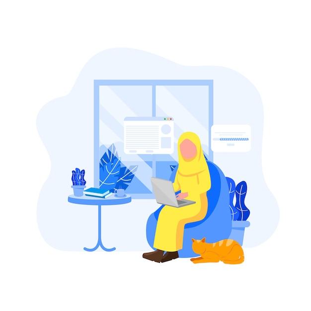 Trabalhador remoto da mulher árabe Vetor Premium