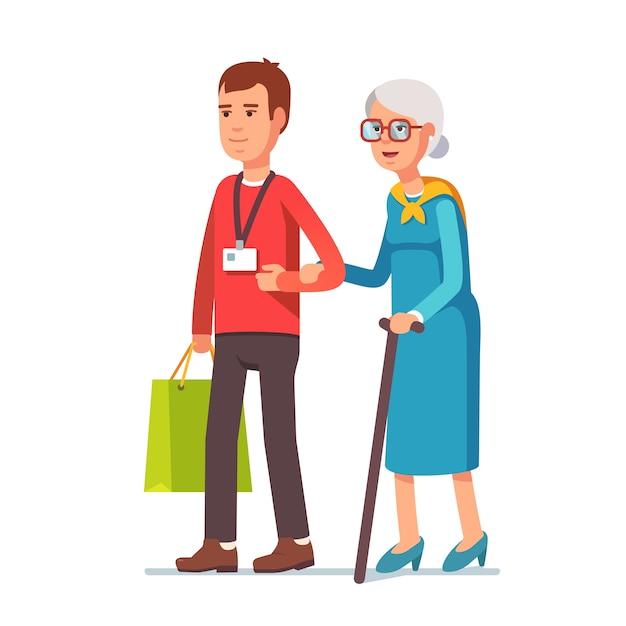 Trabalhador social do homem ajudando mulher idosa cinza Vetor grátis