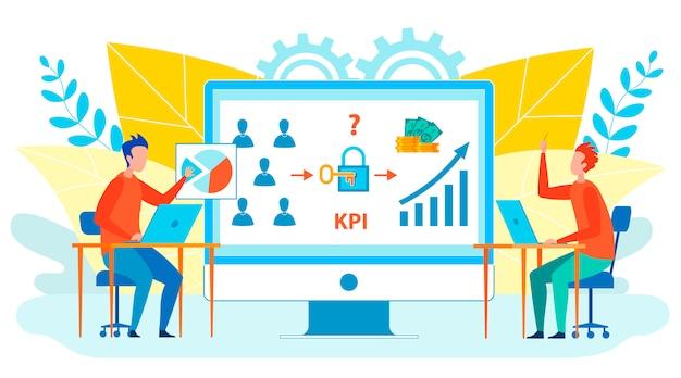 Trabalhadores, analisando o kpi isolado ilustração plana Vetor Premium