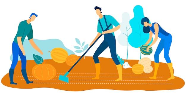 Trabalhadores, colheita, fazenda, crescer, legumes, e, frutas Vetor Premium