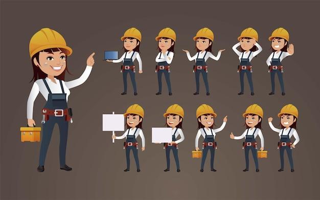 Trabalhadores com diferentes poses. Vetor Premium