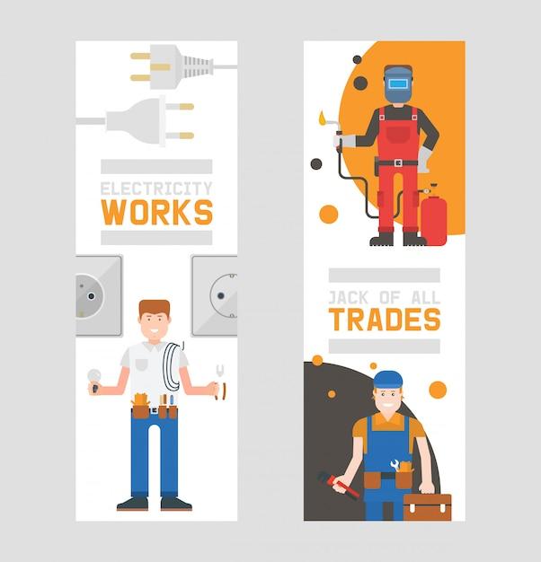 Trabalhadores construtores e engenheiros com ferramentas ou equipamento conjunto de banners verticais trabalhadores em helmets e uniforme de trabalho segurar kit com suprimentos. Vetor Premium