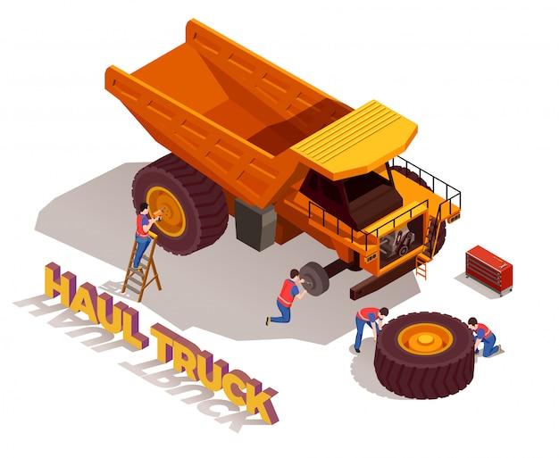 Trabalhadores da construção civil com ferramentas durante a reparação de caminhão Vetor grátis