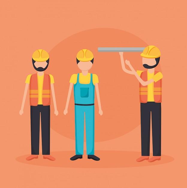 Trabalhadores da construção civil com planta Vetor grátis