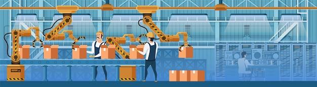 Trabalhadores de armazém, trabalhando na linha de correia transportadora Vetor Premium