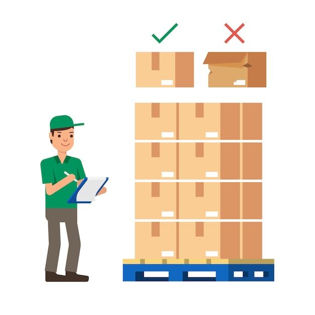 Trabalhadores de armazém, verificando estoque estoque ilustração em vetor estilo moderno plana Vetor Premium