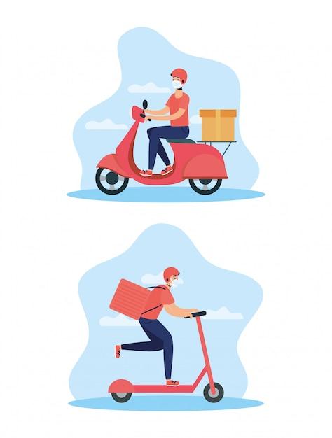 Trabalhadores de entrega usando máscaras em moto e skate Vetor Premium