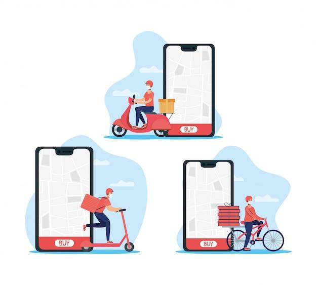 Trabalhadores de entrega usando máscaras em veículos com smartphone Vetor Premium