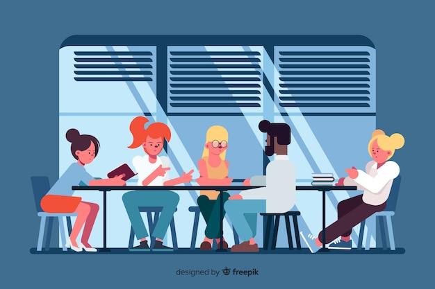 Trabalhadores de escritório, brainstorming juntos ilustrado Vetor grátis