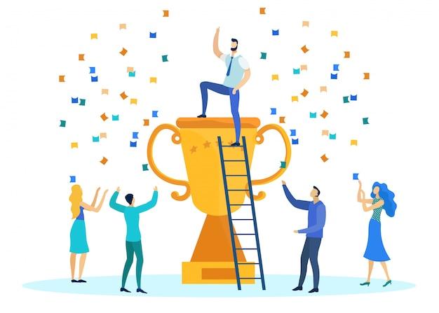 Trabalhadores de escritório, comemorando a vitória na competição Vetor Premium