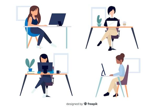 Trabalhadores de escritório de personagens de design plano sentado Vetor grátis