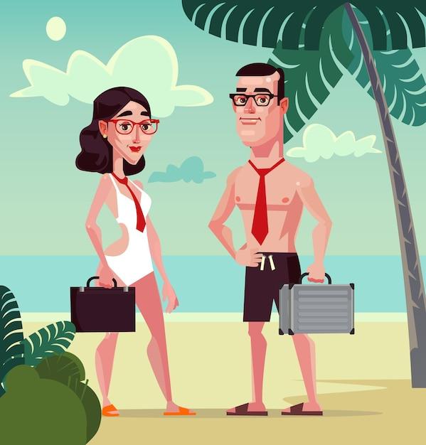 Trabalhadores de escritório felizes e sorridentes, homem e mulher, personagem na praia Vetor Premium