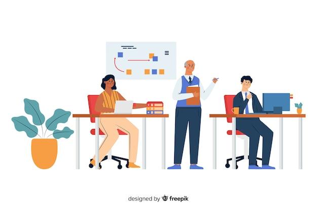 Trabalhadores de escritório sentado em mesas Vetor grátis