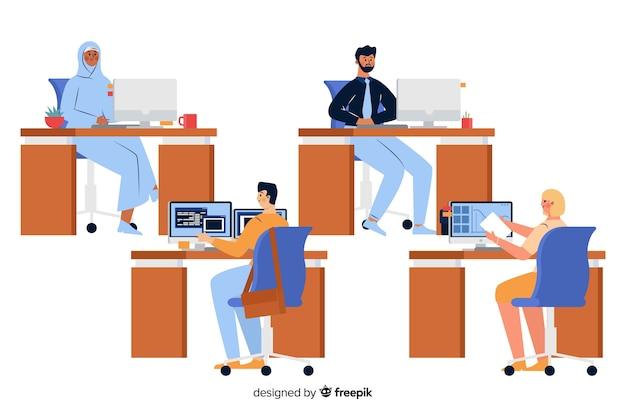 Trabalhadores de escritório sentado em seus trabalhos Vetor grátis