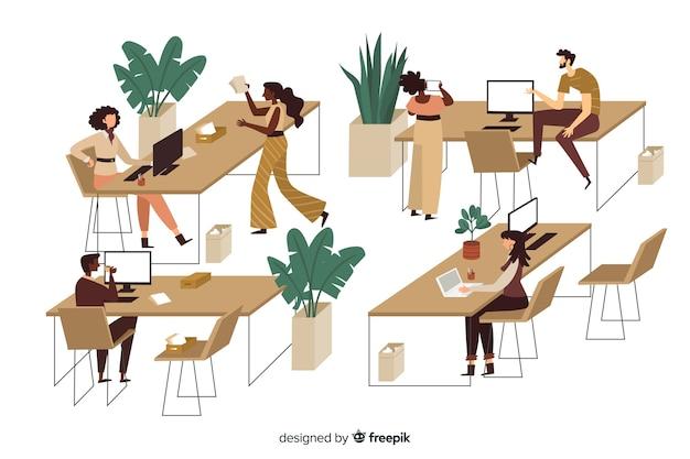 Trabalhadores de escritório sentado na ilustração de mesas Vetor grátis