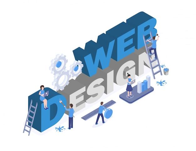 Trabalhadores de estúdio de design gráfico e digital teamworking, procurando soluções criativas personagens 3d Vetor Premium