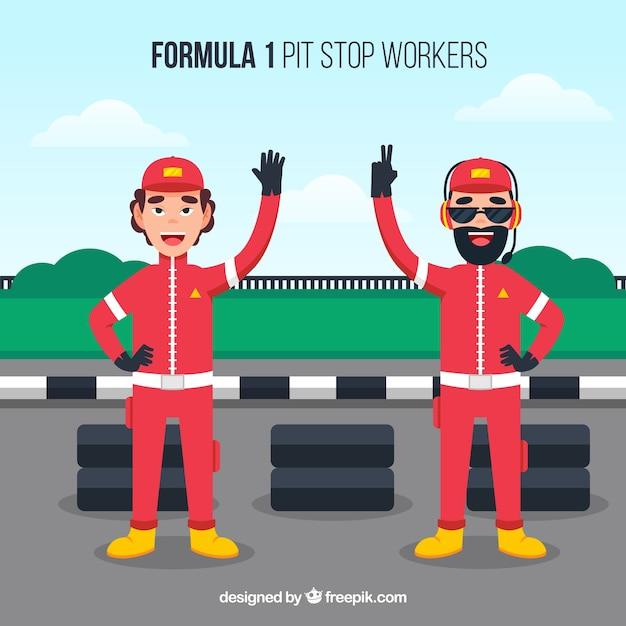 Trabalhadores do pit stop de fórmula 1 Vetor grátis