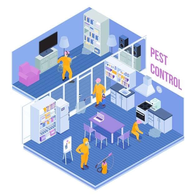 Trabalhadores do serviço de controle de pragas durante o processamento sanitário da ilustração em vetor isométrica de cozinha e sala de estar Vetor grátis