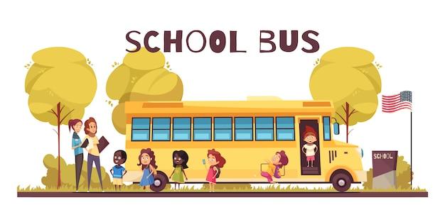 Trabalhadores educacionais e grupo de alunos perto de ônibus amarelo na escola território dos desenhos animados Vetor grátis